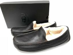 UGG Australia Ascot China Tea Brown Leather Fur Slippers Men