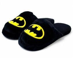 DC COMICS BATMAN LOGO BLACK PLUSH Slippers SIZE LARGE