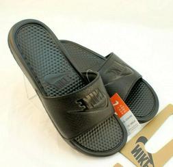 NIKE Men's Benassi Just Do It Slide Sandal, Black, 12 D US