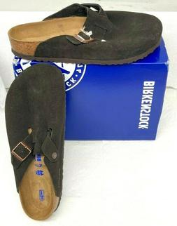 Birkenstock Women's Boston SFB Leather Clog,Mocha,46 EU/15 M
