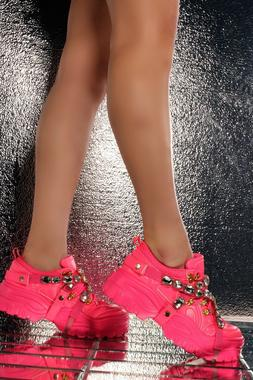 Cape Robbin CHUNK FEVER Neon Pink Mesh Jewel Straps Lug Sole