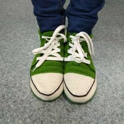 Green crochet men converse sneaker slippers with faux leathe