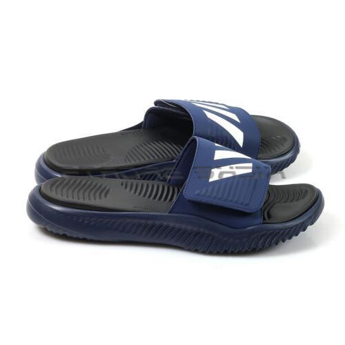 alphabounce slide dark blue black white sandals