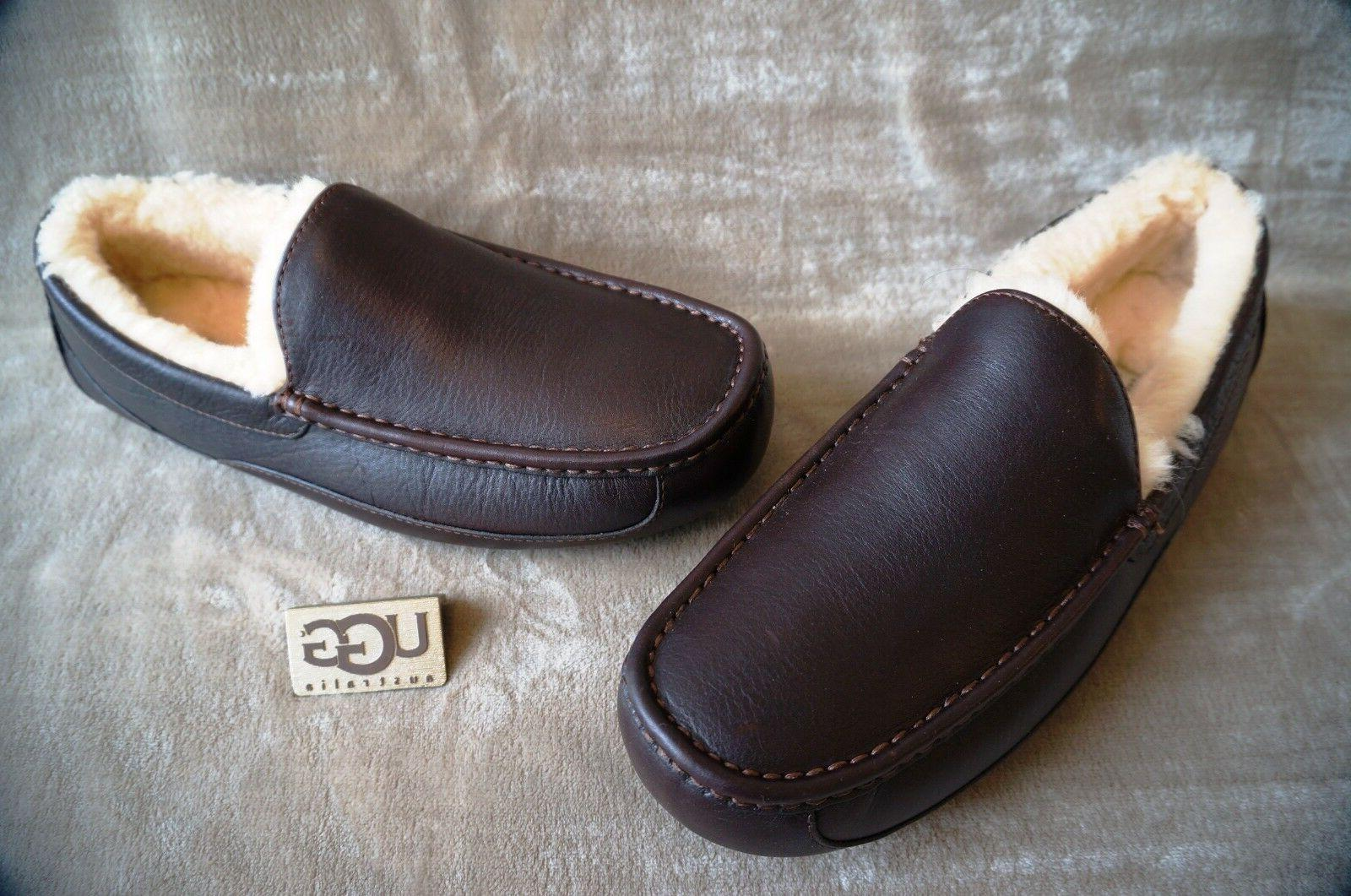 UGG ASCOT LEATHER SLIPPERS WIDE CHINA TEA,