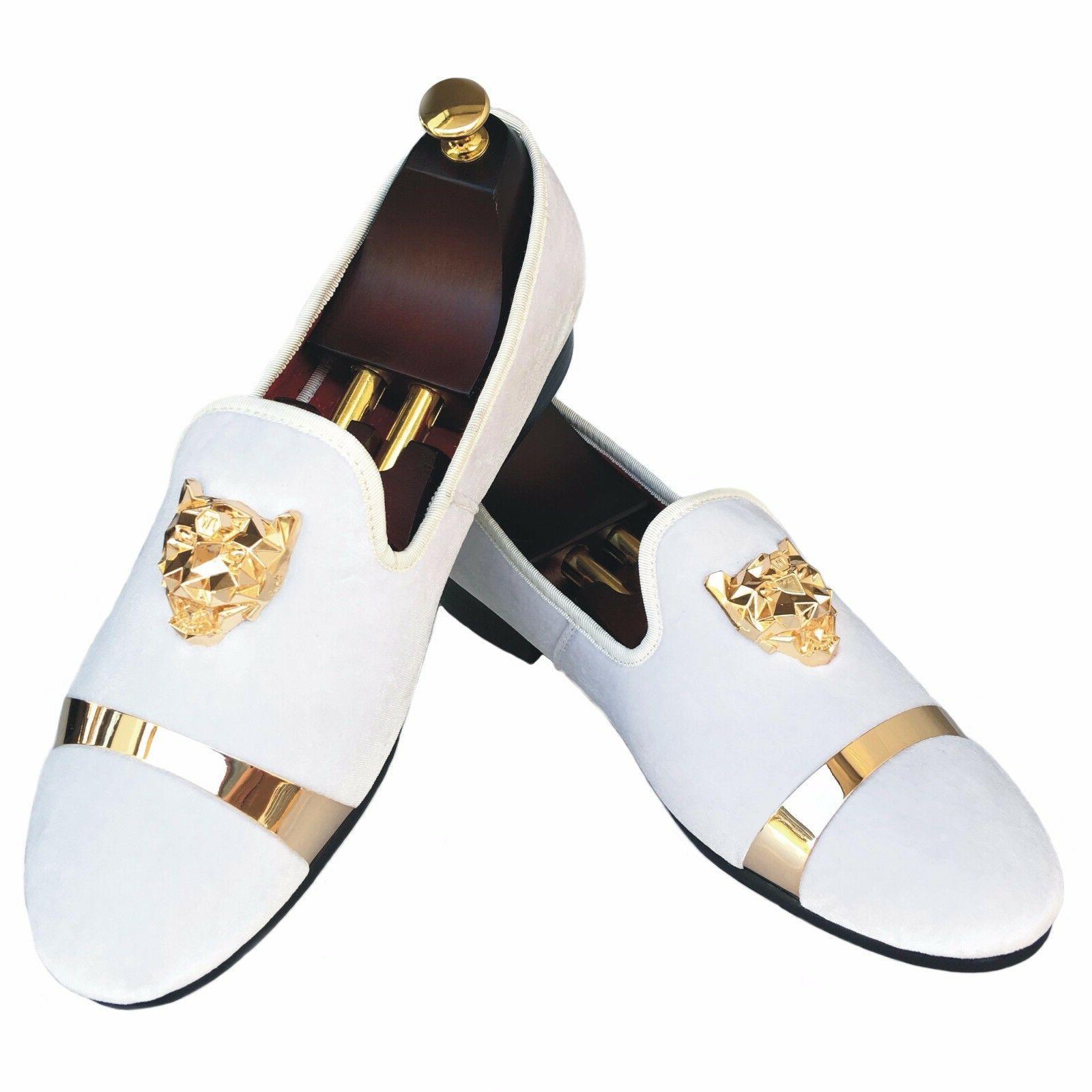 handmade mens velvet loafers slippers with gold