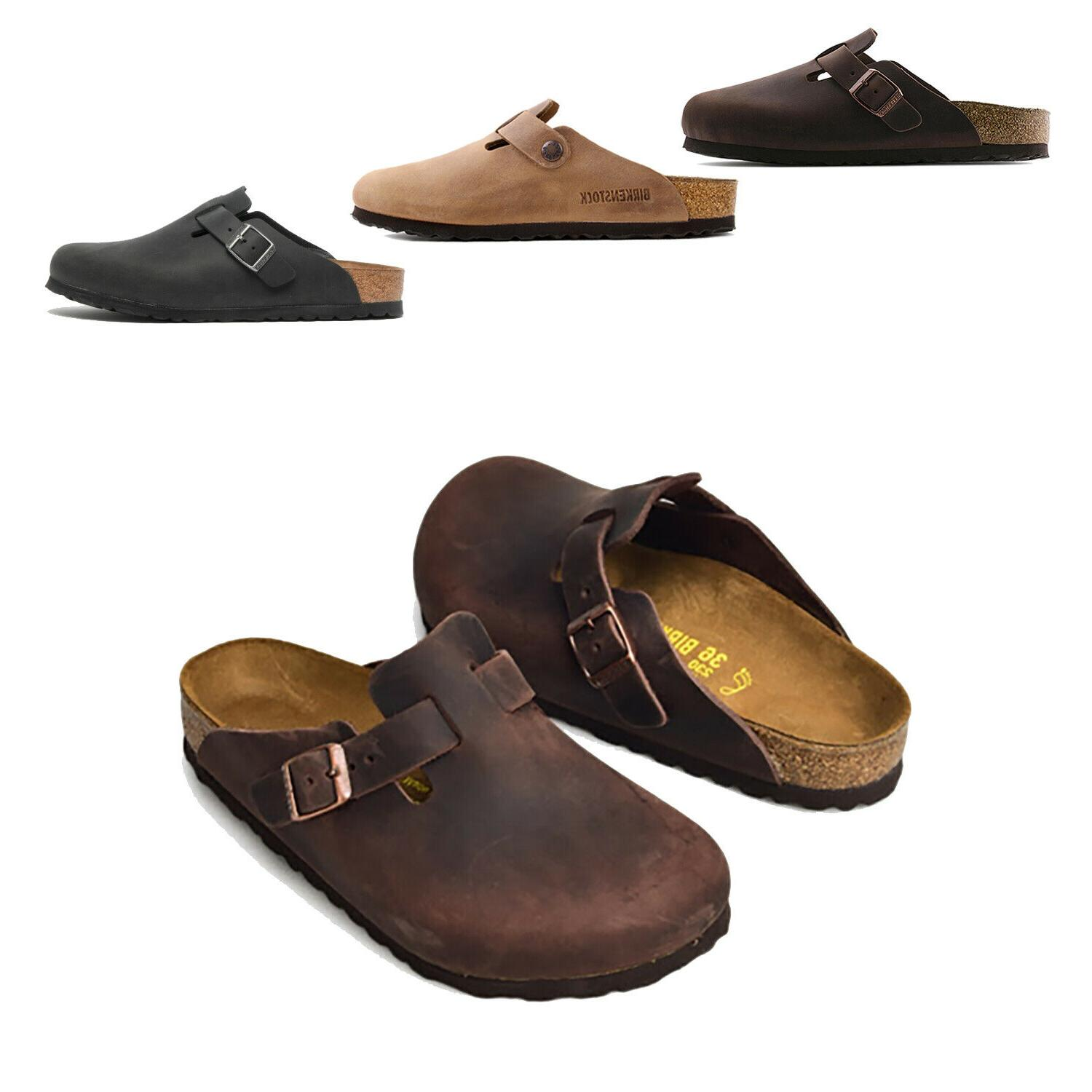 men boston oiled leather clog shoes outdoor
