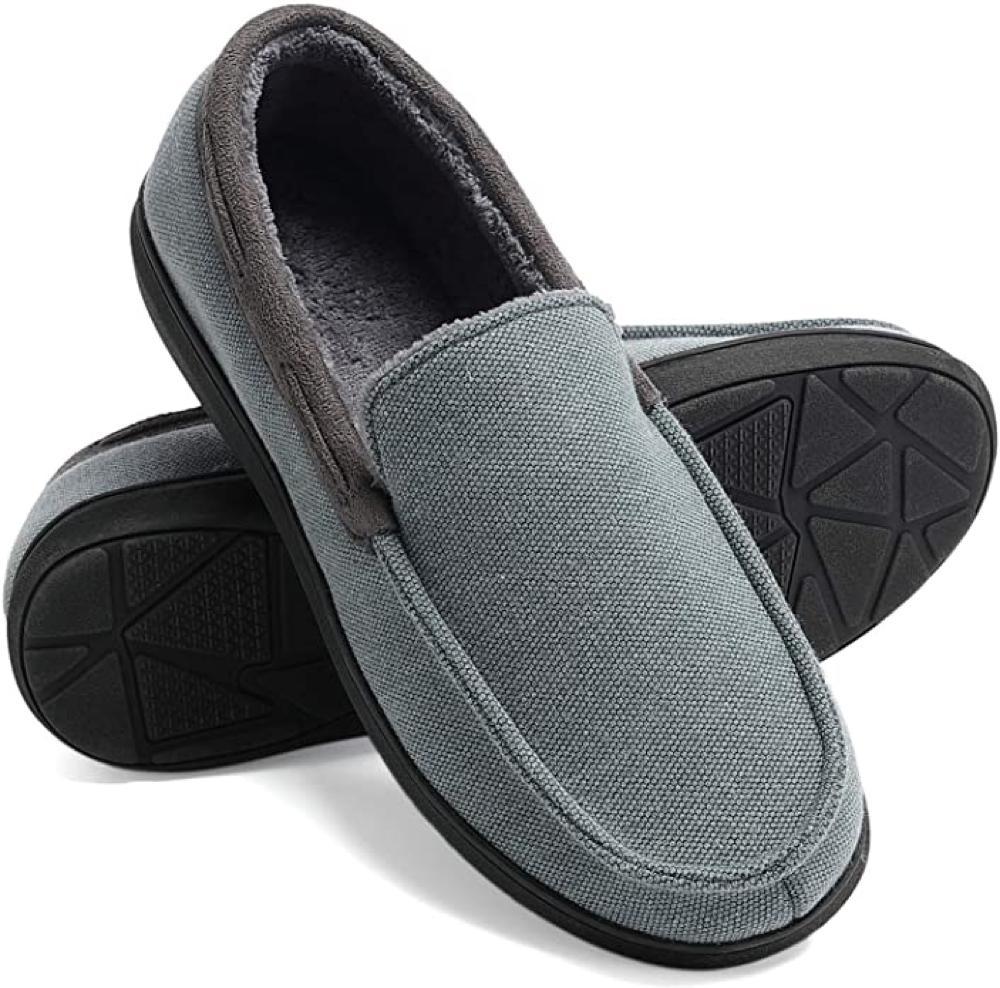 Men's Moccasin Slippers, Memory Foam Anti Skid Slip On House