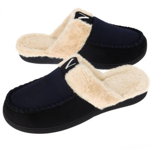 VONMAY Fuzzy Warm Memory Slippers Slip Shoes
