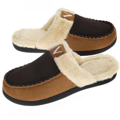 men s fuzzy warm memory foam slippers