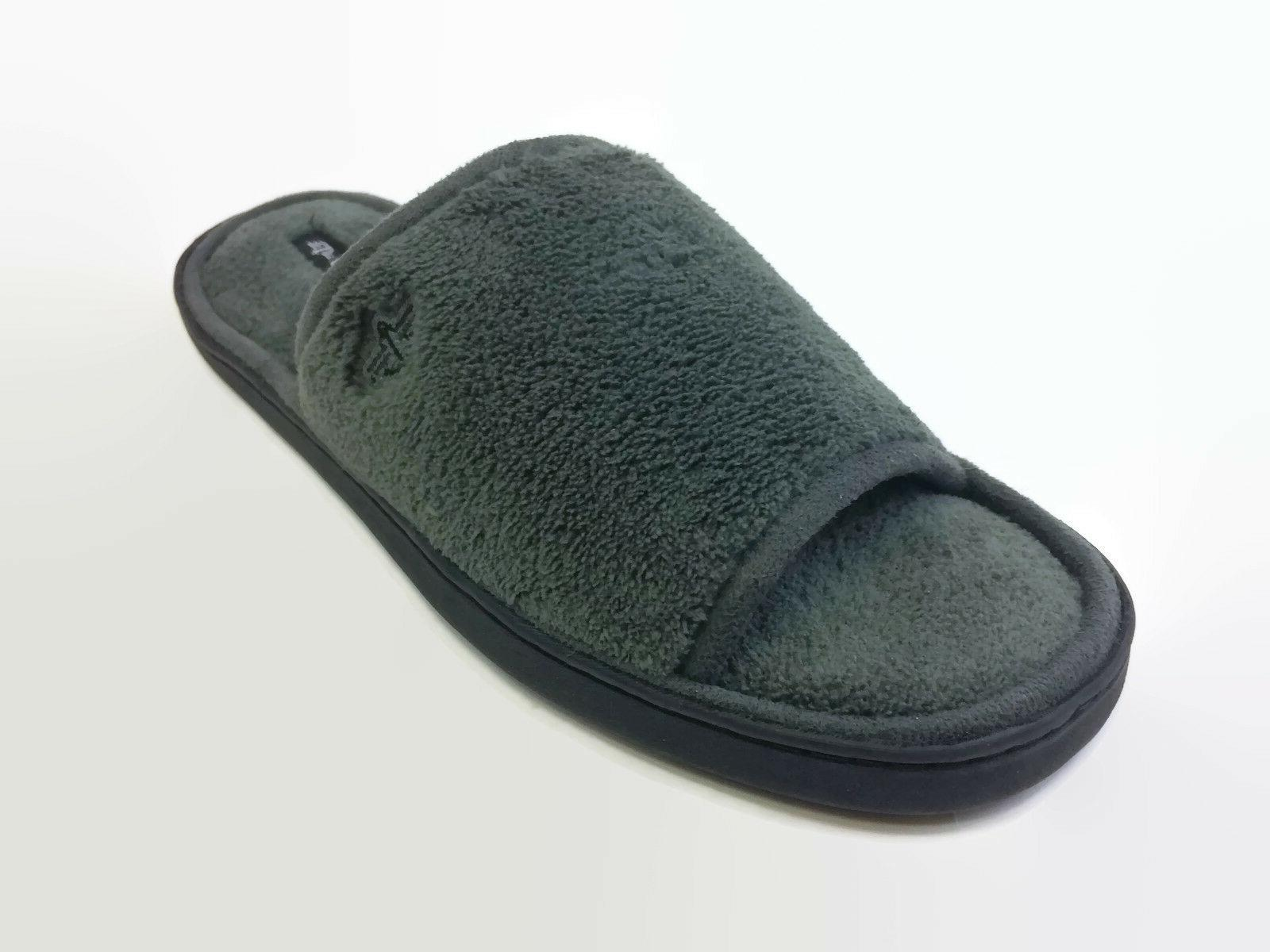 men s gray terry slide slippers