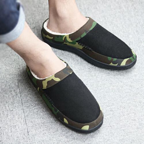 Men's Slippers Fleece Slip-on Outdoor House Shoes