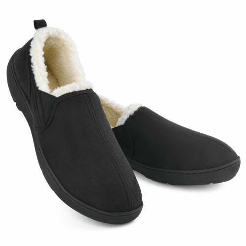 men s memory foam slippers wool like