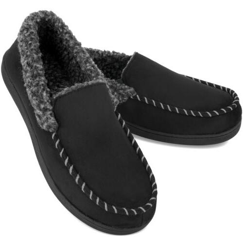 VONMAY Men's Moccasin Slippers Fuzzy House Shoes Fleece Home
