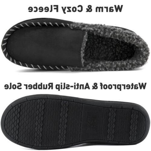 Men's Comfort Memory Foam Moccasin Slippers Fuzzy Warm Home