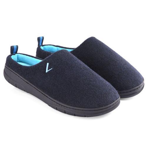 men s two tone memory foam slippers