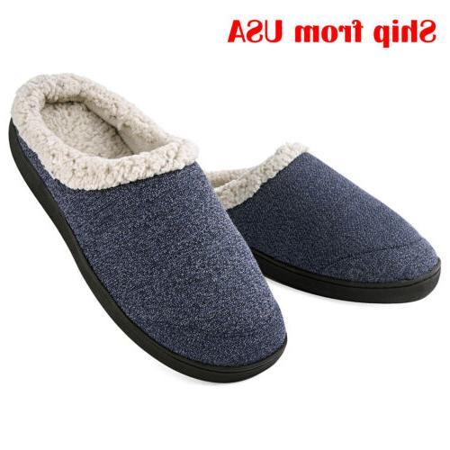 men s warm slippers memory foam wool