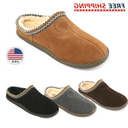 men s warm slippers suede leather indoor