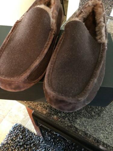 mens ascot espresso moccasin slippers size 12