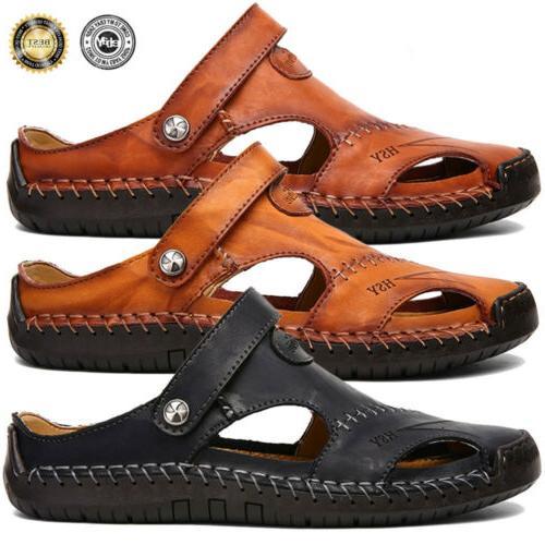 Men's Toe Sandals Leather Shoes Beach Fisherman Flat