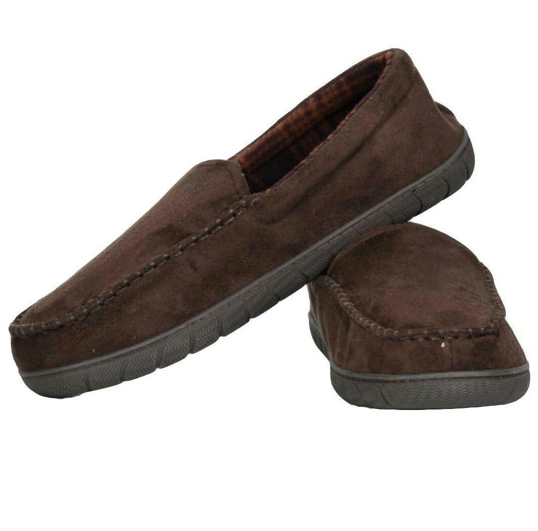 mens brown microsuede slippers with memory foam