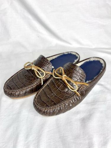 mens slide on slippers house shoes brown