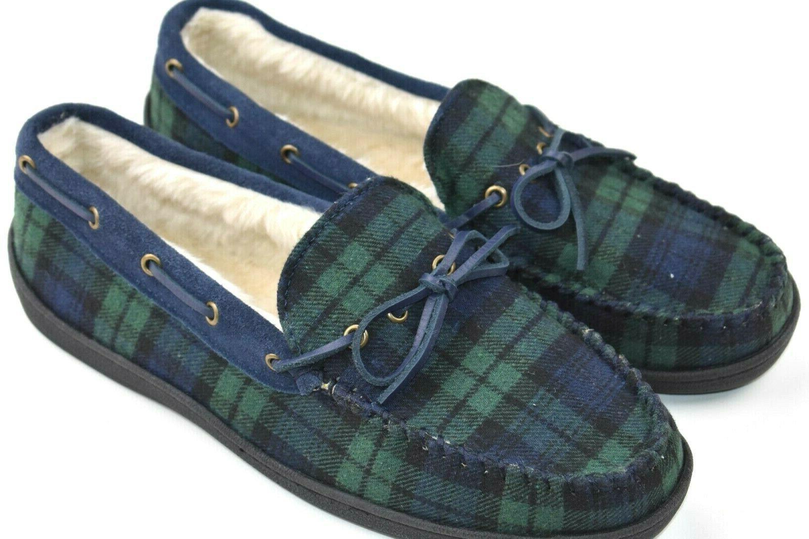 moccasin slip on fleece lined slippers men