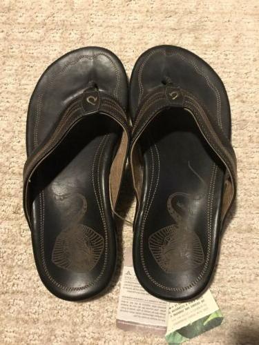 new manini black leather slippers flip flops
