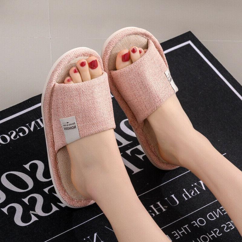 New Women Slippers Anti-slip Linen Toe Flat Shoes