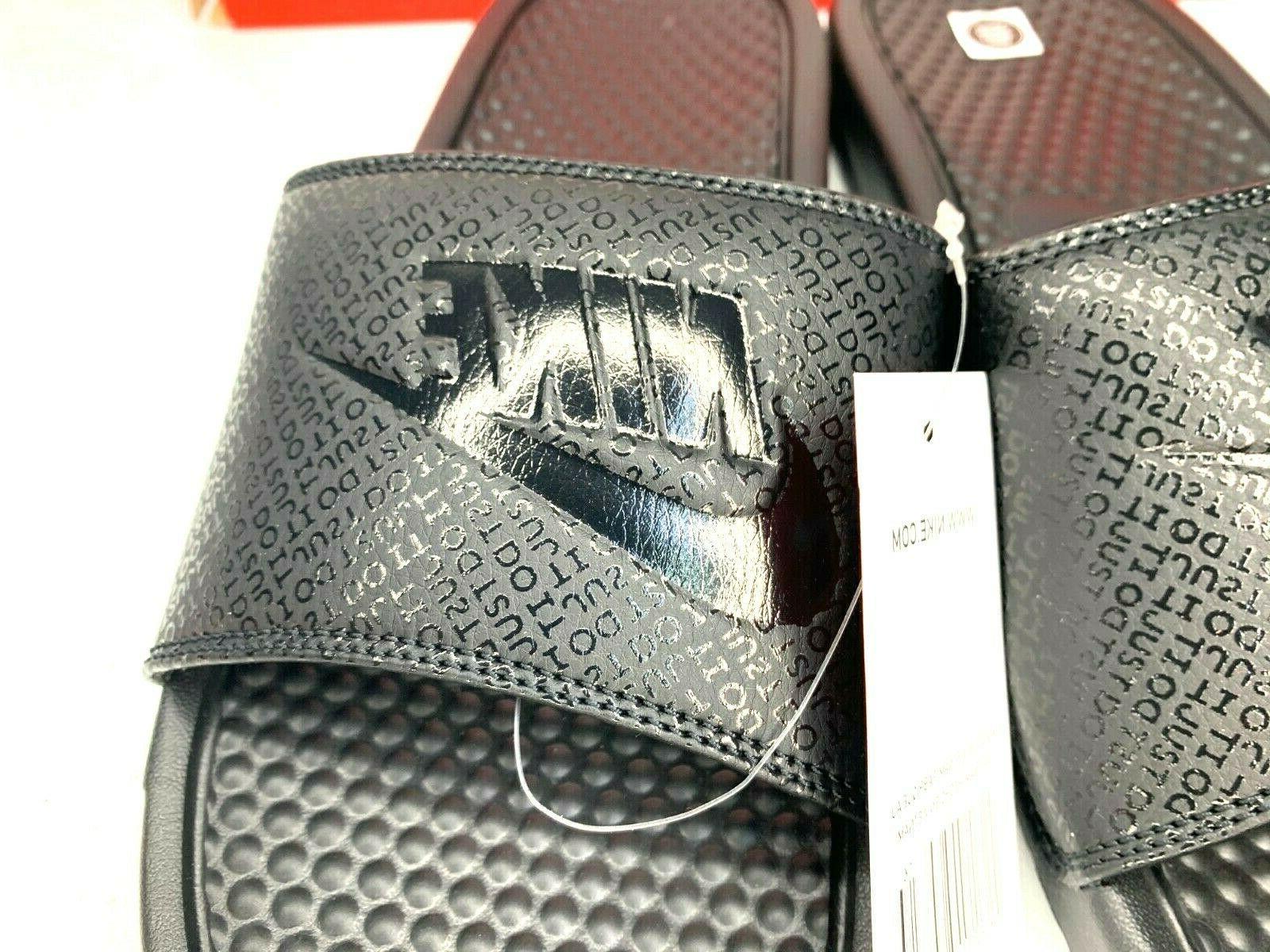 NIB Nike Benassi JDI Logo Black Out Print Slides Sandals Slippers