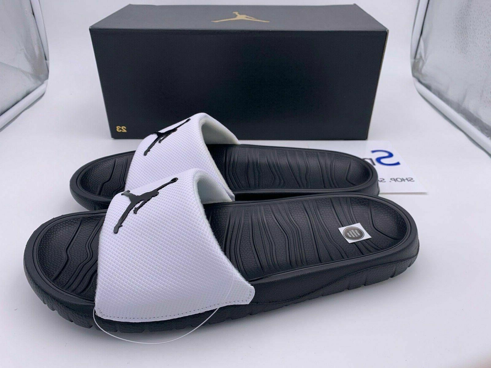 NIB SIZES 10-11 Nike Jordan Slides Sandal Logo Jumpman BLACK WHITE