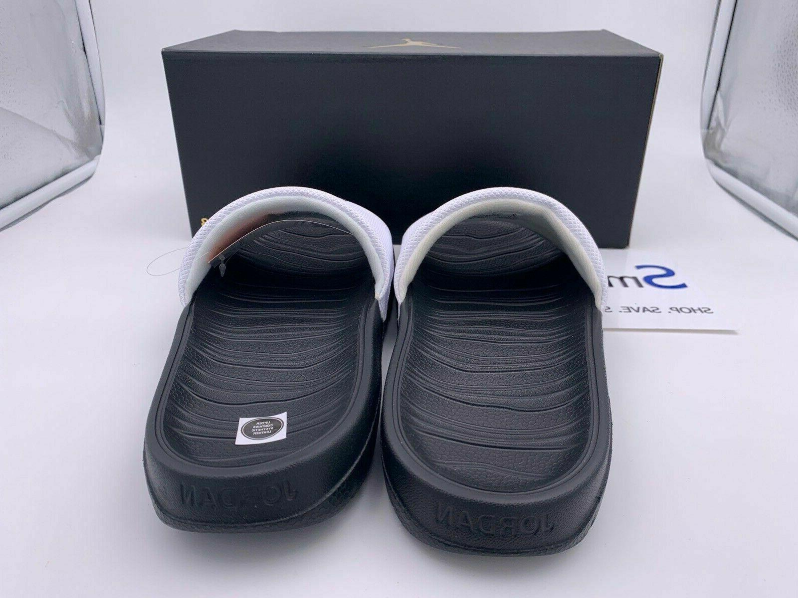 NIB SIZES Slides Sandal Logo BLACK WHITE