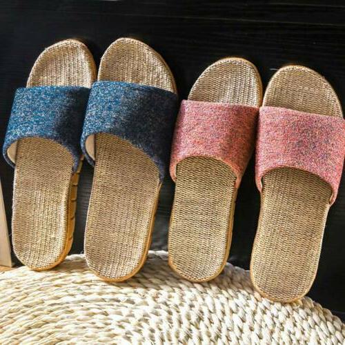 Flax Slippers Men Women Indoor Toe US