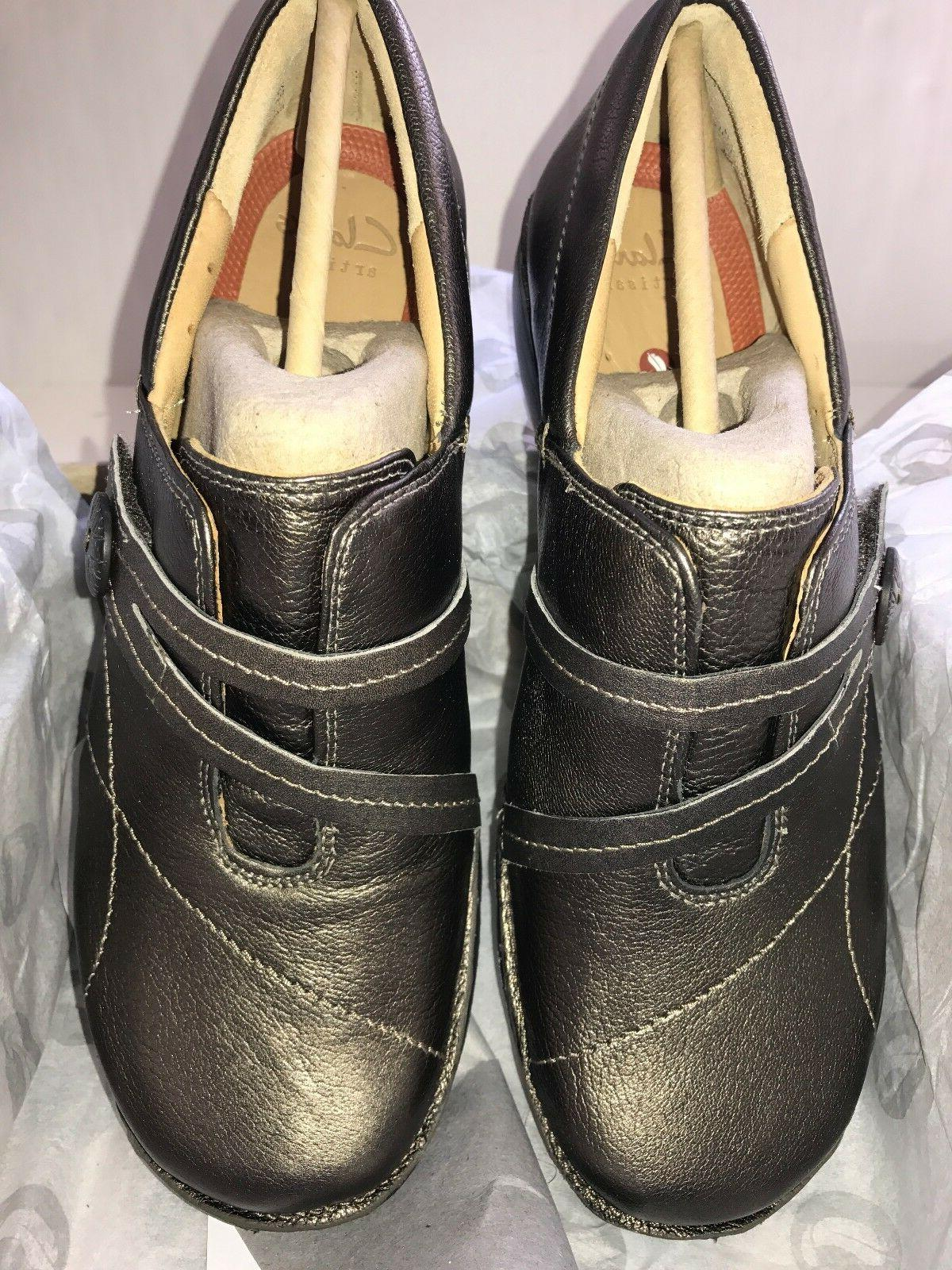 Women's CLARKS Unstructured ESMA Bronze Leather Slip-on Loaf