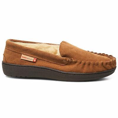 Alpine Swiss Yukon Suede Shearling Slippers Moc Toe Slip Shoes