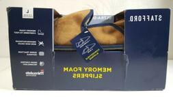 Stafford Memory Foam Comfort Tan Slippers Mens Size L 9.5-10