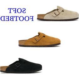Men Birkenstock Boston Soft Footbed Leather Suede Clog Shoe