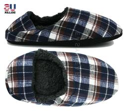 Men's Fleece Lined House Slippers Shoes with Grippers  Slip-