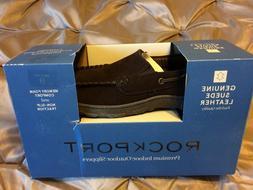Men's Rockport Leather Premium Indoor/Outdoor Brown Slippers