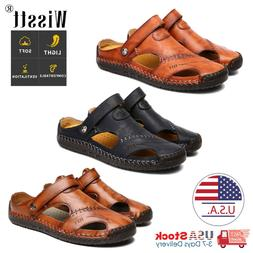 Men's Leather Sports Sandals Holiday Beach Shoes Fisherman B