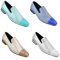 Men's Loafers, Textured and Metallic Smoking Slippers - Cap