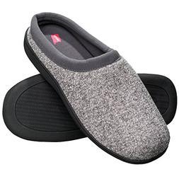 Hanes Men's Memory Foam Indoor/Outdoor Clog Slipper Shoe,Gre