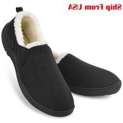 Men's Memory Foam Slippers Wool-Like Plush Warm Anti-Skid Ho