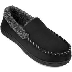 Men's Comfort Memory Foam Moccasin Slippers Fuzzy Fleece War