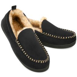 men s moccasin slippers fuzzy house shoes