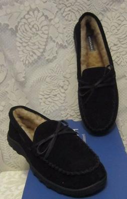 Men's Rockport Moccasin Suede Indoor/Outdoor Slippers Black