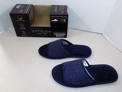 Gold Toe Men's Navy Memory Foam Open Toe Slippers NIB Size S