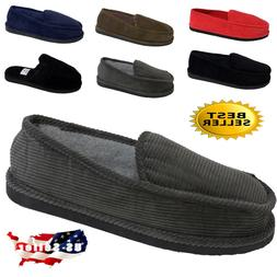 MEN'S SLIPPERS HOUSE SHOES MOCCASIN CORDUROY SLIP ON & OPEN
