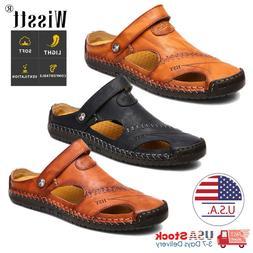 Men's Sport Close Toe Sandals Summer Leather Shoes Beach Fis