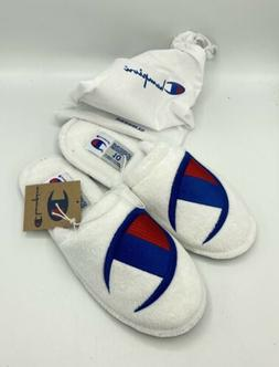 Champion Men's White Sleepover M Slippers w/ Bag - Size 10