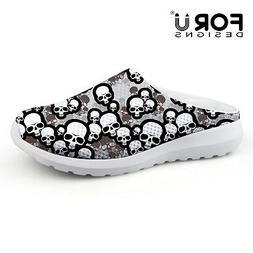 Men's Women's Funky Skull Slippers Casual Shoes Flat Slip On